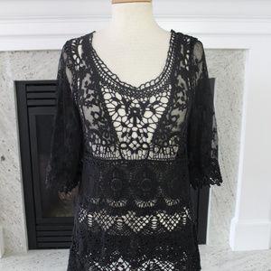 Pretty Angel Black Crochet Lace Up Womens Top S